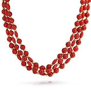 Bling Jewelry Simulated Coral Gold Plated Three Strand Necklace
