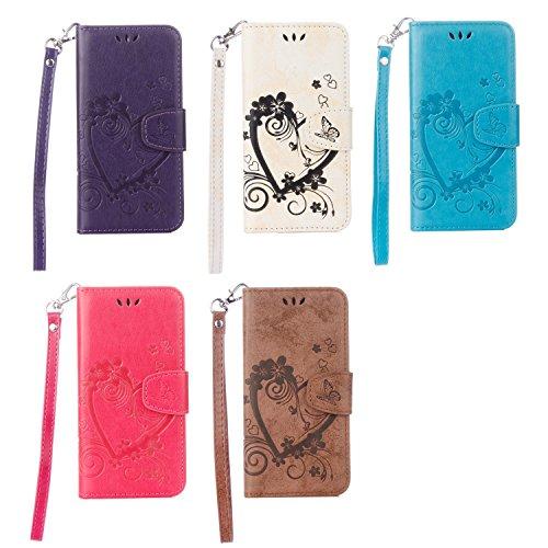 Case pour la Apple iPhone 6 Plus (5.5 pouces) Coque,Campanula plume Étui en PU Cuir Phone Case Cover Couverture Fonction Support avec Fermeture Aimantée de Feuille Motif Imprimé+Bouchons de poussière  1