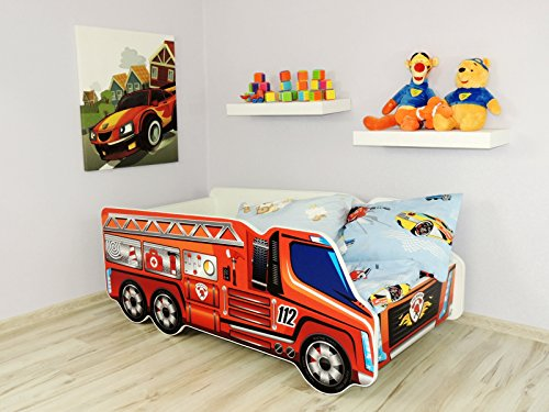 TODDLER CHILDREN KIDS BED INCLUDING MATTRESS CAR TRUCK (Fire Truck)