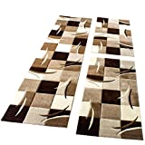 PHC Bettumrandung Läufer Teppich Modern Karo Braun Creme Beige Läuferset 3 Tlg, Grösse:2mal 80x150 1mal 80x300