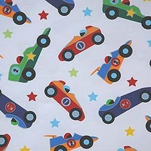 Tissu jersey imprimé au mètre - coton oeko tex - motifs Voitures de course/ Blanc Réf 83102 - Avenue des Tissus