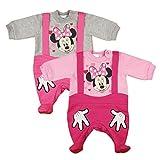 Disney Minnie Mouse Baby Mädchen Langarm Strampler gefüttert Spiel-Anzug Overall Outfit WARM mit Füssen Gr. 56 62 68 74 80 Baumwoll in Latzhosen Look Lagenlook Rosa Grau Farbe Rosa, Größe 68