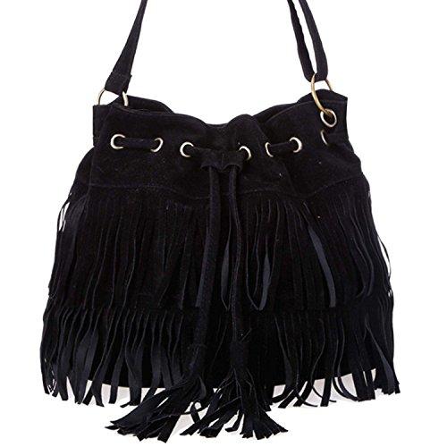 Minetom Nappe Borsa A Tracolla Borsa Faux Suede Cross-body Shoulder delle nuove donne di modo delle borse del sacchetto ( Marrone ) Nero