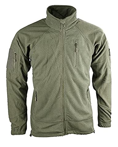 Military Forces Unisex Adult Delta Tactical Grid Fleece - Military Personnel Cadets D of E Camping Hiking Trekking (Olive Green, L)