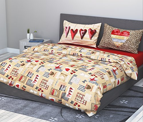 Juego de sábanas (100 % algodón para cama de matrimonio 2plazas 4piezas modelo Cuor di Fiocco