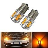 FEZZ Auto Lampadine LED 5630 Luce BAU15S 1156 150° Super Luminoso con il Proiettore per Indicatori di Direzione, Ambra Gialla, Pacchetto di 2