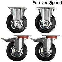 Forever Speed Lote de 4 Ruedas Giratorias de Transporte Ruedas Pivotantes para Carritos Muebles Ø 125mm Soportan 100 kg por rollo Con 2 Freno & 2 placa de montaje