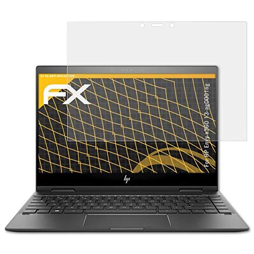 atFolix Panzerfolie kompatibel mit HP Envy x360 13-ag0001ng Schutzfolie, entspiegelnde & stoßdämpfende FX Folie (2X)