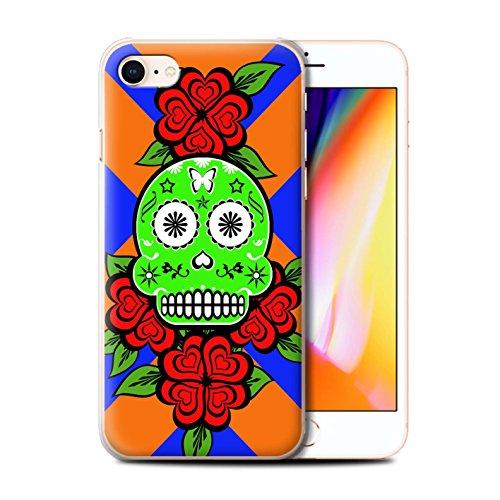 Stuff4 Hülle / Case für Apple iPhone 8 / Türkis Muster / Süßigkeiten Schädel Kollektion Grün/Rose