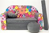 Pro Cosmo–A12niños sofá cama futón con puff/reposapiés/almohada, tela, gris, 168x 98x 60cm
