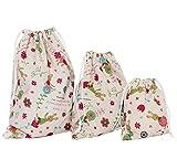 Lubier Mochila cuerdas Bolsa saco cuerdas Conejo Bolsa de almacenamiento para niños Viajes al aire libre Bolsa de almacenamiento-Blanco(3 pcs)