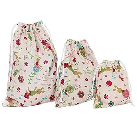 LAAT 3pièces pochette cadeau en coton et lin, sac de voyage à cordon, pochette de rangement de produits cosmétiques, lapin