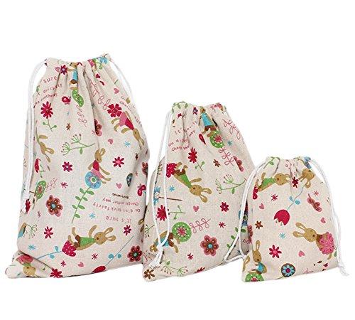 LAAT 3 Stück Baumwolle und Leinen, Süßigkeiten-Geschenkbeutel mit Kordelzug für Reisen, Kosmetikbeutel, hase, 32*25