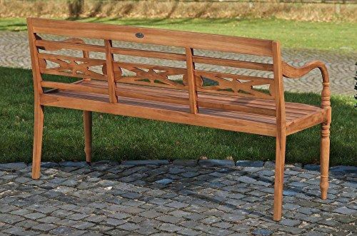 CLP Teak-Holz Gartenbank MARYLAND V2, massiv, wetterfest, bis zu 3 Größen wählbar, wird teilmontiert angeliefert 120×54 cm - 3