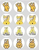 12 Pudsey Children In Need rice paper fairy / cupcake 40mm cake toppers pre cut decoration