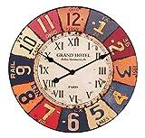 FineBuy Wanduhr XXL Ø 60 cm Grand-Hotel Design Küchenuhr Vintage-Look Bahnhofsuhr modern Römische Ziffern mehrfarbig stilvoll Wohndeko Design Wohnzimmeruhr Wanddekoration elegant Designuhr groß