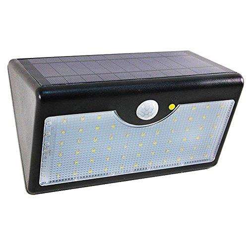 MCTECH® 60 LEDs Solarleuchten mit Bewegungsmelder Solarlampe Wasserdichte Außenleuchte für Flur Wege Terrassen Patio Gärten (Schwarz)