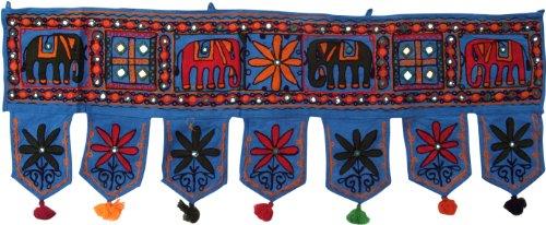 Guru-Shop Colgante de Pared, Banderín, Toran `Elefant` - Azul Claro, Algodón, 33x90...