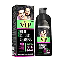 VIP Hair Color Shampoo for Men & Women - Easy application for Hair, Beard, Chest & Mustache without Glows & mixing (400 ML- Black)