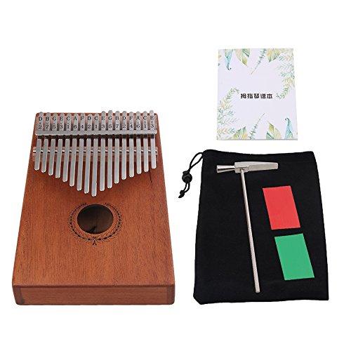 Yibuy 18.5x 13.3x 4.8cm marrone legno 17chiave Thumb piano solido finger piano corpo in mogano per bambini