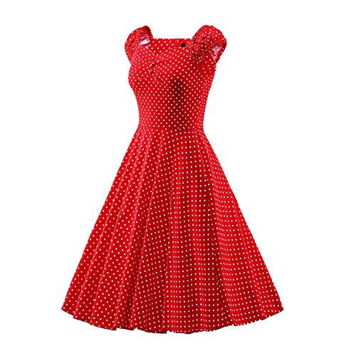iLover 50s Rockabilly cru Audrey balancer robe de cocktail grande taille E062-BDred