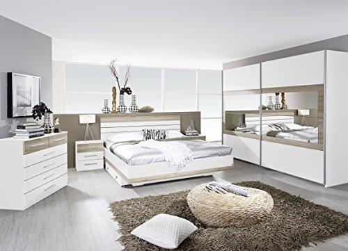 Rauch Schlafzimmer Komplettangebot Schwebetürenschrank 226 cm/Bett 180 x 200 cm / 2 x Nachtkonsole Alpinweiß-Eiche Sanremo