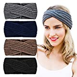 DRESHOW 4 Packung Butterme Twisted Knotted Crochet Strick Stirnband Damen Frauen Turban Kopftuch Bandanas Kopfband Haarband Ear Warmer Haarband