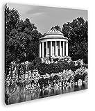 deyoli schöner Pavillon in Gartenanlage im Format: 40x40 Effekt: Schwarz&Weiß als Leinwandbild, Motiv auf Echtholzrahmen, Hochwertiger Digitaldruck mit Rahmen, Kein Poster oder Plakat