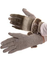 Sakkas Sophie Ombre gestrickter Faux-Pelz-Handgelenk-Band-Touch-Screen-Capable-Handschuhe