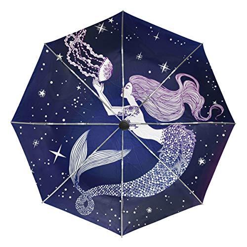 Wamika Automatischer Regenschirm mit Meerjungfrau-Quallen-Quallen-Motiv, Winddicht, wasserdicht, UV-Schutz, Reise-Regenschirm, 3 Falten, automatisches Öffnen/Schließen, für Sonne und Regen