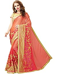 SareeShop Women's Silk And Chiffon Zari Embroidered Saree With Blouse Piece (KARINAORANGE, Orange, Free Size)