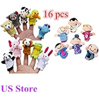 16PC Finger Puppets Animals People Family Members Educational Toy Cute friendGG Cartoon Doll Kids Glove Soft Plush Toys For Story telling, Teaching, Preschool, Role-Play Learn Story Stuffed Toy (16pcs, as the picture)