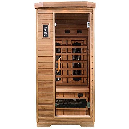 SaunaMed 1-Personen-Sauna, luxuriös, Zedernholz, Fern-Infrarot-Sauna, ohne elektromagnetische Strahlung -