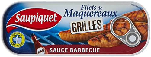 Saupiquet Filets de Maquereaux Grillés Sauce Barbecue 120 g - Lot de 5