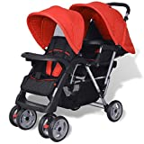 Best Dual Strollers - vidaXL Tandem Stroller Steel Red and Black Review