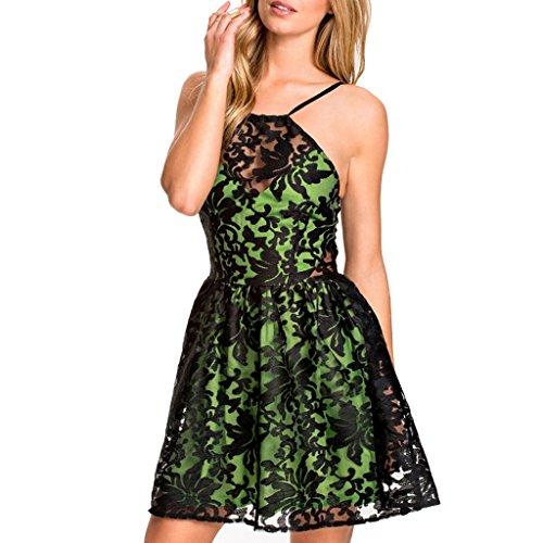 ABILIO - vestito donna elegante vestitino svasato organza abito cerimonia festa Verde