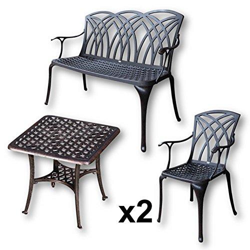 Lazy Susan - SANDRA Quadratischer Kaffeetisch mit 1 APRIL Gartenbank und 2 APRIL Stühlen - Gartenmöbel Set aus Metall, Antik Bronze