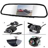 YMPA Rückfahrsystem 12,7 cm 5 Zoll Inch mit TFT LCD Spiegel Monitor Innenspiegel Rückspiegel mit Rückfahrkamera Farbe 170 und 6 M Kabel für Auto PKW KFZ Wohnmobil RFS-SSP35