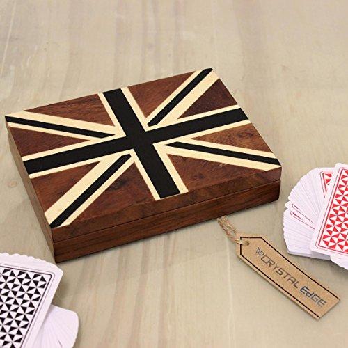 Teakholz Spielkarten Kiste Einzelbett Deck Karten Union Jack Design schwarz Samt