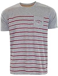Nouveaux Hommes Designer Slazenger T-shirt manches courtes à rayures Tee Printed Pocket Top