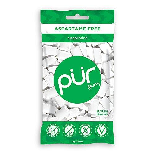 Pür Gum, Spearmint (Kaugummi) ohne Aspartam - 57 Stück - 1 Beutel