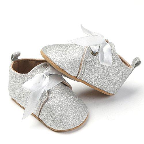 Igemy 1 Paar Neugeborene Baby Mädchen Jungen Sequins Schuhe Leopard Up Slip Lace Sneaker Silber