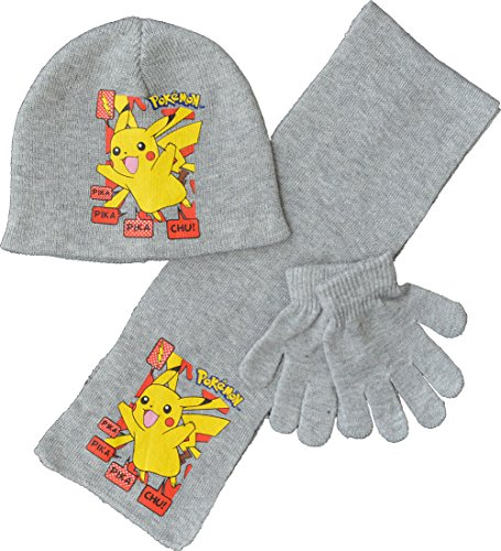 Childrens - Pokemon Pikachu HSG Set Winter Hat Scarf Gloves 52cm  Grey  -  Buy Online in Oman.  90826607254