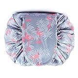Tragbare Faule Kordelzug Makeup Bag Reise Kosmetiktasche Kulturbeutel Organizer Schnellspeicher Wasserdicht Große für Frauen und Mädchen (A1-Flamingo)