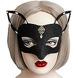 Smile YKK Máscara Fantasma Mujer de Danza Forma de Zorro con Diamante Negro