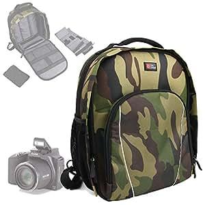Duragadget Sac à dos de transport et de rangement pour Kodak Easy Share MAX appareil photo SLR et ses accessoires - imprimé camouflage tendance