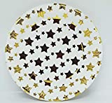 PartyToko Disposable Party Drinkware with Golden Star Dot Round Plates Beverage Cups Dinner Plates Dessert(10 Cup and 10 Plate)