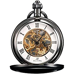 KS Unisex KSP006 Skeleton Full Hunter Mechanical Pocket Watch