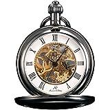 KS Reloj de Bolsillo Unisex Mecánico de Cuerda Manual, Caja Grisa KSP006