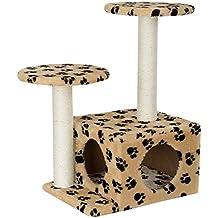 [en.casa] Rascador Para Gatos Árbol Para Gatos Trepar Sisal Juguetes - 43 x 33 x 67 cm - crema